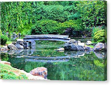 Koi Pond Pondering - Japanese Garden Canvas Print by Bill Cannon
