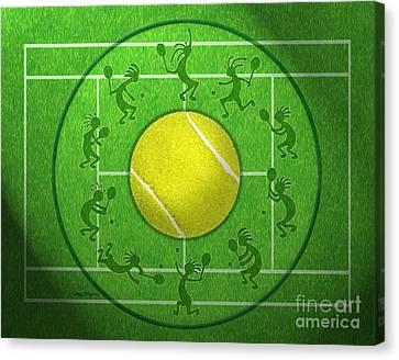Kokopelli Tennis Grass Canvas Print by Chris Rhynas