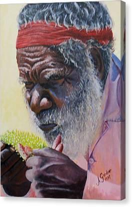 Koori Elder Canvas Print by Anne Gardner
