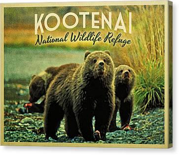Kootenai Wildlife Refuge Bears Canvas Print by Flo Karp