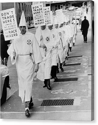 Ku Klux Klansmen Picket Newly Canvas Print by Everett