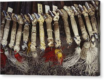 Kung Fu Sword Handles And Tassels Used Canvas Print by Justin Guariglia