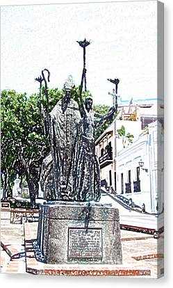La Rogativa Sculpture Old San Juan Puerto Rico Colored Pencil Canvas Print by Shawn O'Brien