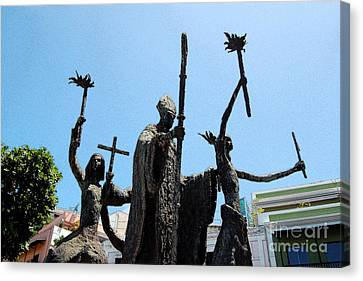 La Rogativa Statue Old San Juan Puerto Rico Ink Outlines Canvas Print by Shawn O'Brien