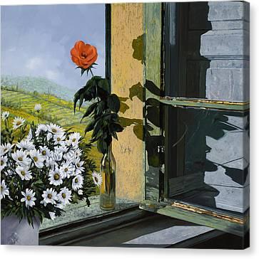 La Rosa Alla Finestra Canvas Print by Guido Borelli