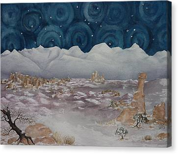 La Sal Mountains In The Snow Canvas Print by Estephy Sabin Figueroa