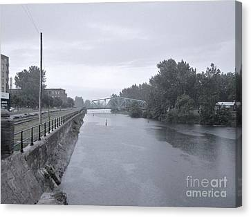Lachine Canal At Atwater Canvas Print by Reb Frost
