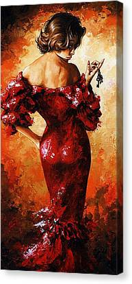 Lady In Red 33 Canvas Print by Emerico Imre Toth