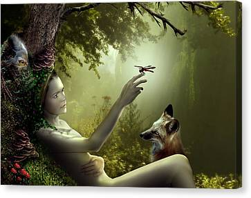 Lady Of The Forest Canvas Print by Julie L Hoddinott