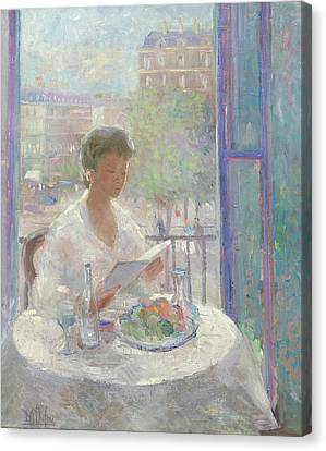 Lady Reading At An Open Window  Canvas Print by Clementine Helene Dufau
