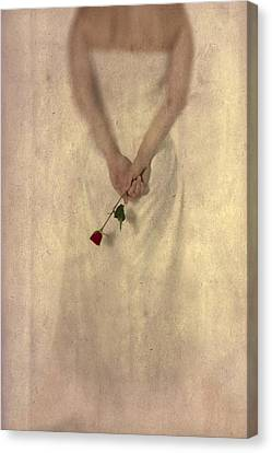 Lady With A Rose Canvas Print by Joana Kruse