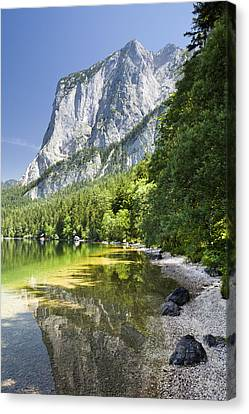 Lake Altausseer See And Mount Trisselwand Canvas Print by Jorg Greuel