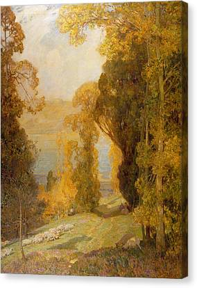 Lake Bourget From Mont Revard  Canvas Print by Sir Alfred East