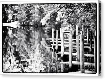 Lake Dock Canvas Print by John Rizzuto