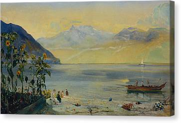 Lake Leman With The Dents Du Midi In The Distance Canvas Print by John William Inchbold
