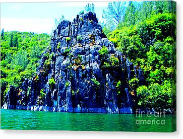 Lake Side Boulder Canvas Print by Christina Perry