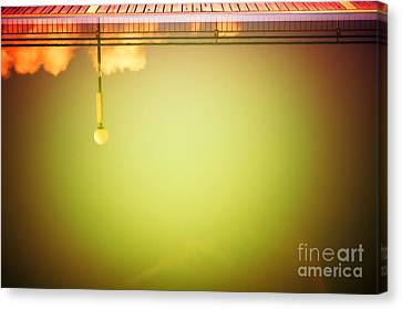 Lamp And Clouds In A Swimming Pool Canvas Print by Silvia Ganora