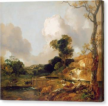 Landscape With Stream And Weir Canvas Print by Thomas Gainsborough