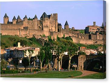 Languedoc Roussillon Carcassonne La Cite, 12th Century Castle, Carcassonne, Languedoc-roussillon, France, Europe Canvas Print by John Elk III