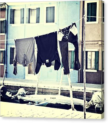 laundry on a clothes line in Burano - Venice Canvas Print by Joana Kruse