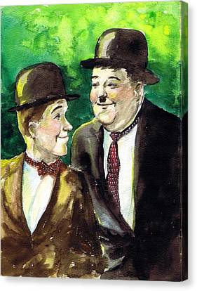 Laurel And Hardy Canvas Print by Mel Thompson