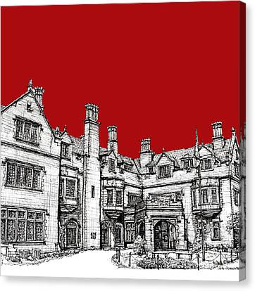 Laurel Hall In Red Canvas Print by Building  Art