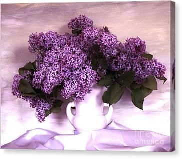 Lavendar Lilacs Canvas Print by Marsha Heiken