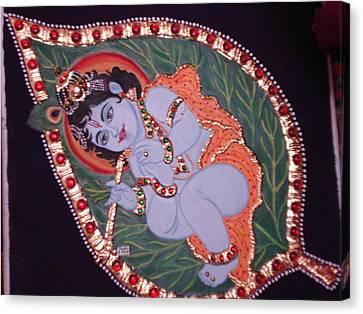 Leaf Krishna Canvas Print by Vijaya Jaju