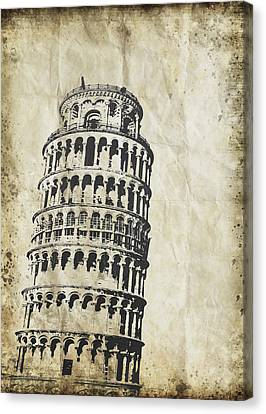 Leaning Tower Of Pisa On Old Paper Canvas Print by Setsiri Silapasuwanchai