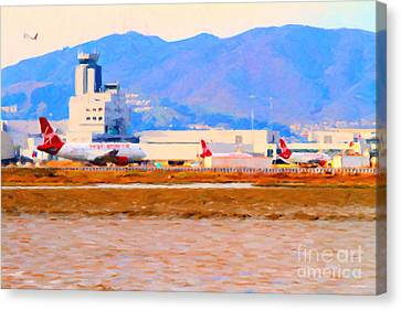 Leaving On A Jet Plane . 7d12335 Canvas Print by Wingsdomain Art and Photography