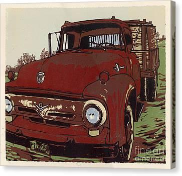 Leeser's Truck - Linocut Print Canvas Print by Annie Laurie