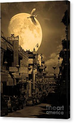 Legend Of The Great White Phoenix Of Chinatown . 7d7172 . Sepia Canvas Print by Wingsdomain Art and Photography