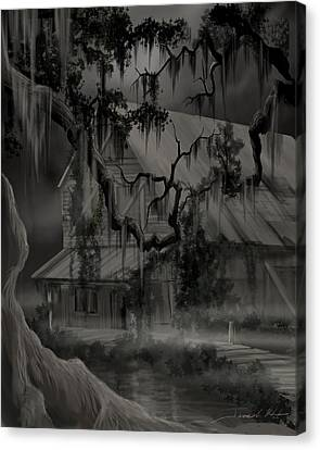 Legend Of The Old House In The Swamp Canvas Print by James Christopher Hill