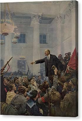 Lenin 1870-1924 Declaring Power Canvas Print by Everett