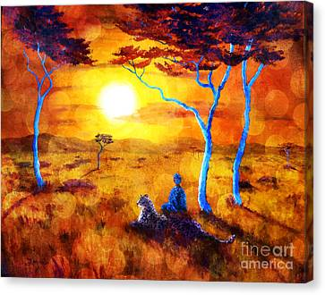 Leopard Dream Meditation Canvas Print by Laura Iverson