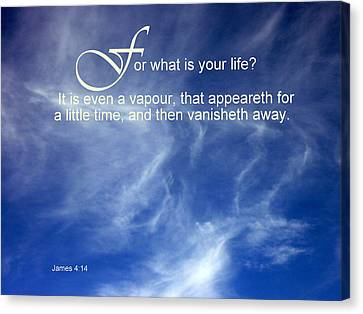 Life Is But A Vapour Canvas Print by Cindy Wright