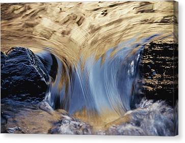 Light Reflected On Water Flowing Canvas Print by Jason Edwards