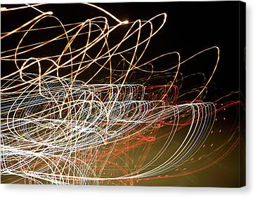 Light Trails At Night Canvas Print by Frederick Bass