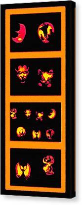 Lighted Jack-o-lanterns Tetraptych Canvas Print by Steve Ohlsen