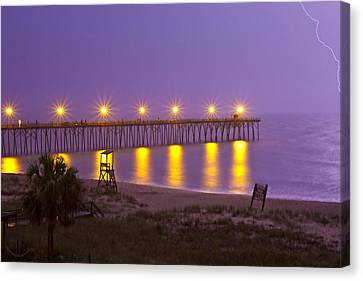 Lightening Strike At Kure Beach Canvas Print by Betsy Knapp