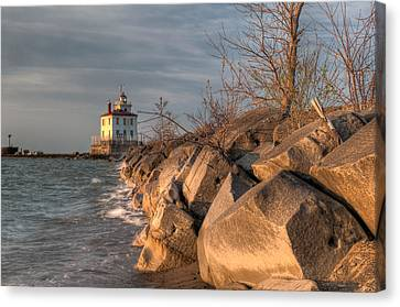 Lighthouse And Breakwall In Evening Light Canvas Print by At Lands End Photography