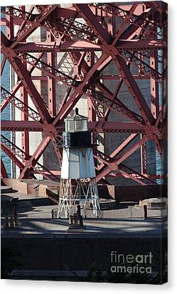 Lighthouse Atop Fort Point Next To The San Francisco Golden Gate Bridge - 5d18999 Canvas Print by Wingsdomain Art and Photography