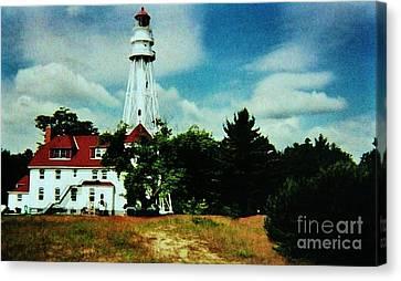Lighthouse Off Lake Michigan Canvas Print by Marsha Heiken