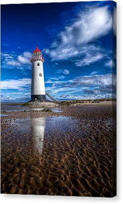 Lighthouse Reflections Canvas Print by Adrian Evans