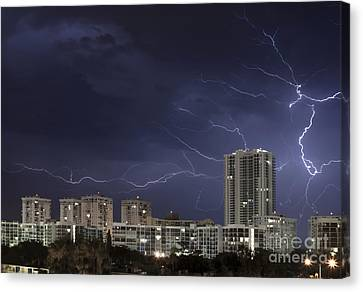 Lightning Bolt In Sky Canvas Print by Blink Images