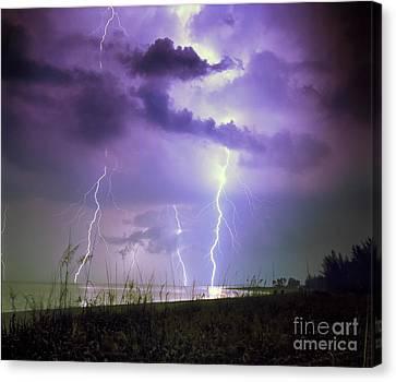 Lightning Over Florida Canvas Print by Keith Kapple