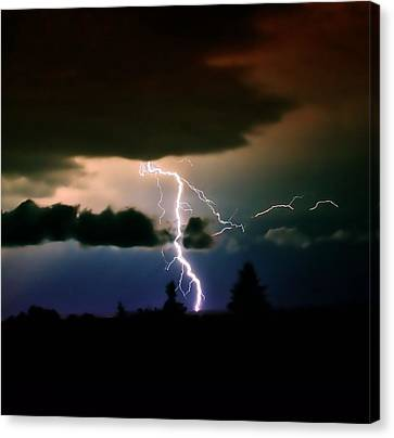 Lightning Over The Plains I Canvas Print by Ellen Heaverlo
