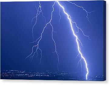 Lightning Strike At Night Near Phoenix, Usa Canvas Print by Keith Kent