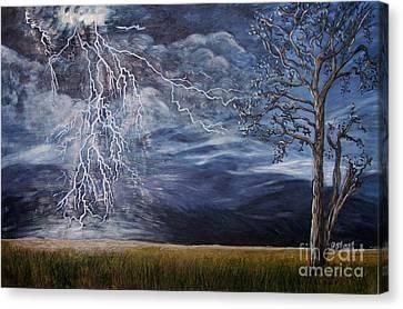 Lightning Strike Canvas Print by Caroline Street