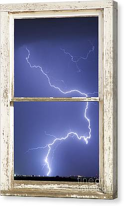 Lightning Strike White Barn Picture Window Frame Photo Art  Canvas Print by James BO  Insogna